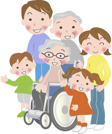 older woman smiling: Three generation family Stock Photo