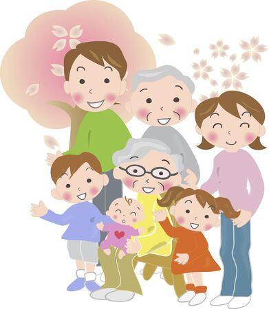 older woman smiling: Three generation family of Spring Day