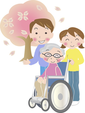 two generation family: Old man riding a couple and wheelchair spring day