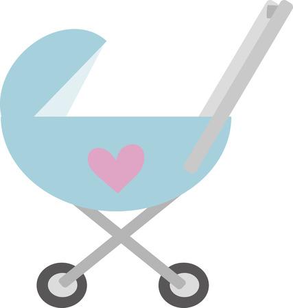 childcare: Blue stroller