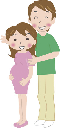 attire: Pregnant woman and her husband of summer attire Stock Photo