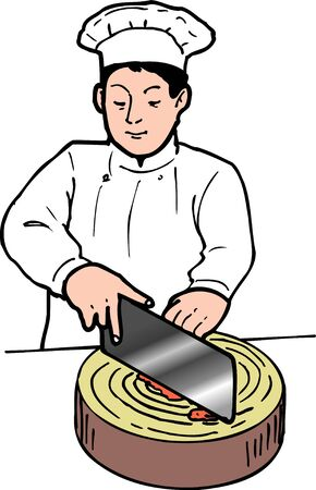 japanese cuisine: Chinese cook Stock Photo