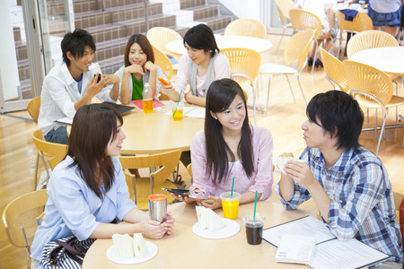College students to chat in the dining room