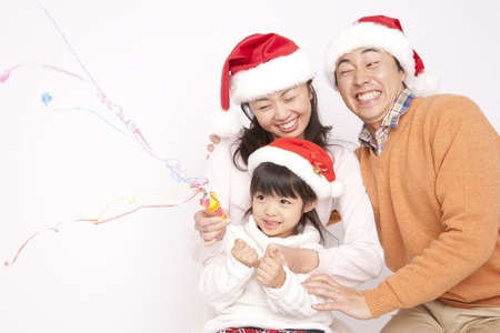 Families enjoy the Christmas party Stock Photo