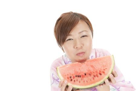 yukata: Watermelon eating yukata girls