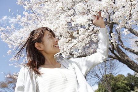 touched: Women who are touched Sakura