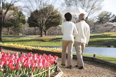 Senior couple for exploring the park