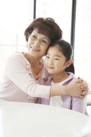 entertain: Grandmother to entertain the grandchildren Stock Photo