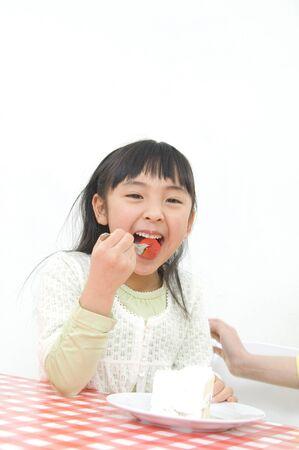 exhilaration: Girls eat cake.