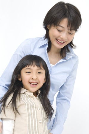 nuclear family: Smiling mother and child