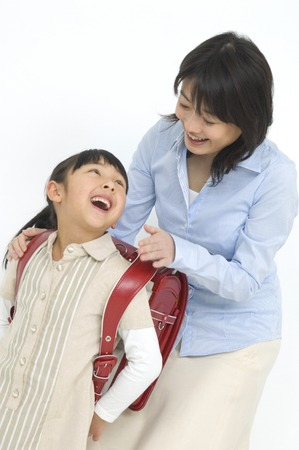 Sonriendo madre y el niño Foto de archivo