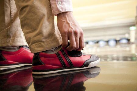 leisure wear: Feet of men who wear bowling shoes