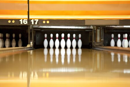 lanes: Bowling lanes and pin Stock Photo