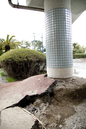 The raised strut in the liquefaction phenomenon Stock Photo