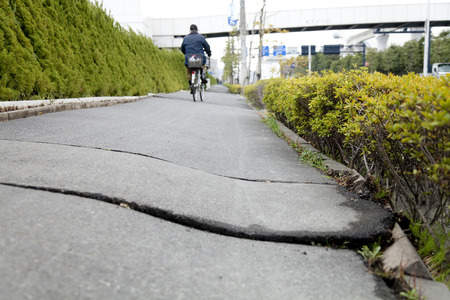 distorted: Trail distorted by liquefaction Stock Photo