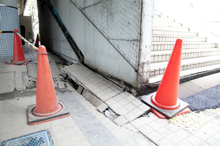 shifted: Stairs shifted by an earthquake