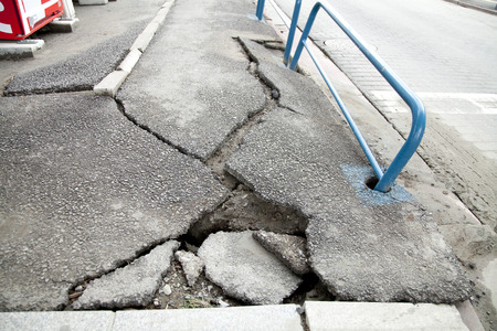 crazing: Asphalt was cracked in the liquefaction phenomenon Stock Photo