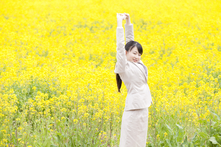 OL for the growth in front of rape field Stock Photo