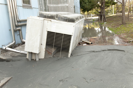 Outdoor unit, which was buried in the liquefaction phenomenon
