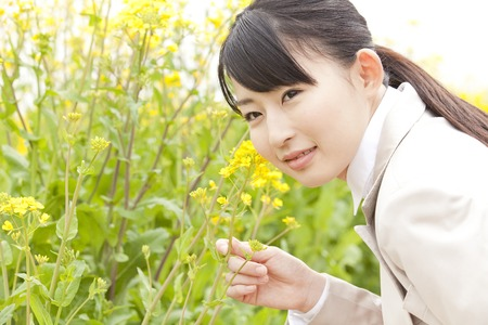 mustard field: OL smile by touching the field mustard Stock Photo