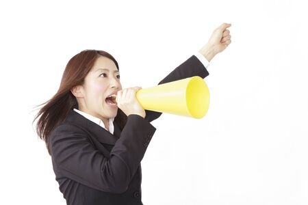 newcomer: New employees with a megaphone Stock Photo