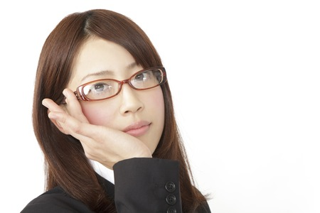 new recruit: New employees to smile over the glasses Stock Photo