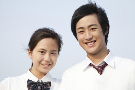school teens: Smiling high school couple