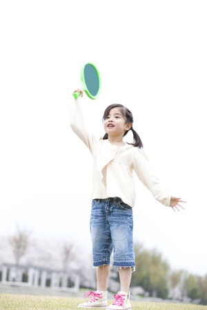 comrade: Girls have a racquet and play Stock Photo