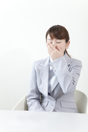 the yawn: Businesswoman of the yawn