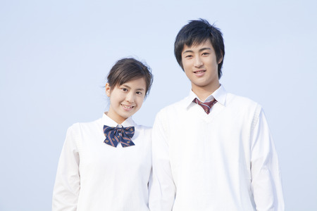 Smiling high school couple