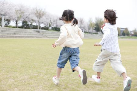 Children running the square