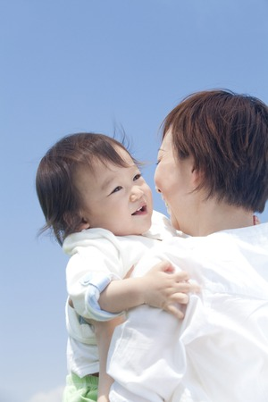 Boy to be hug to his mother