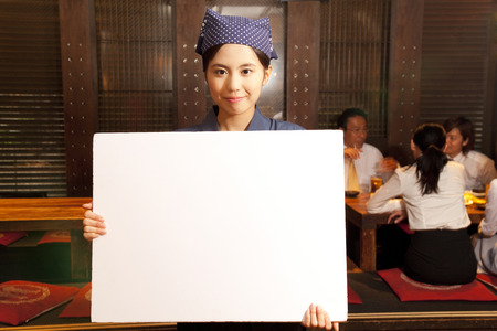 farewell party: Tavern employees with a white board