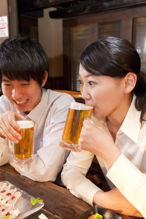 farewell party: Businessman to be chatting in the pub
