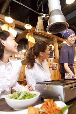 rejoice: Women who rejoice with the clerk carrying the cuisine