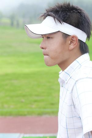ゴルフに男性プロフィール 写真素材