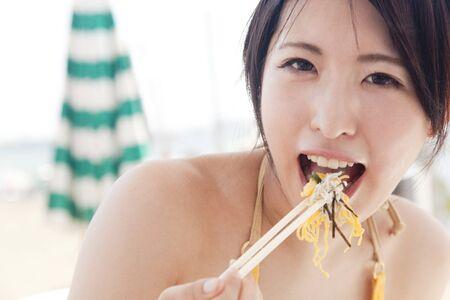 whitebait: Women who eat whitebait bowl