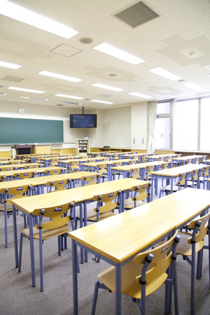 college life: Lecture room of University Stock Photo