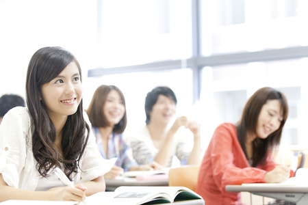 Women's College students receive lectures Stock Photo