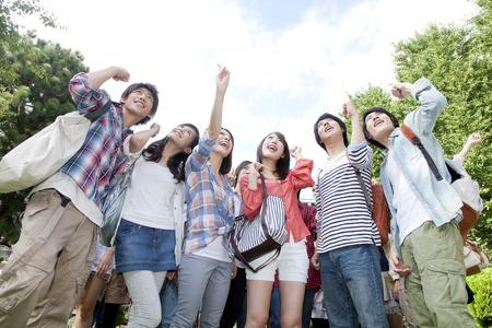 College studenten om het lef vormen Stockfoto