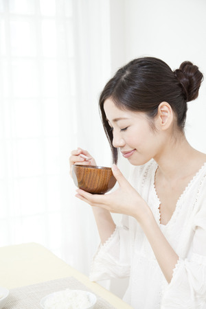 japanese woman: Women who drink miso soup