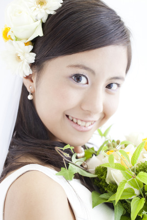 Bride holding bouquet Stock Photo - 43094913