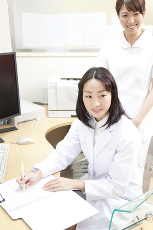 obstetrician: woman doctor and nurses that interview to