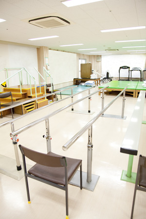 hospitalization: For rehabilitation parallel bars handrail Stock Photo