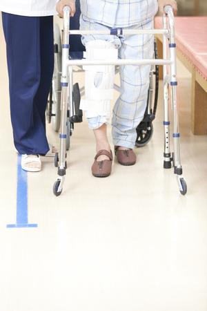 pacientes: Los pacientes de rehabilitación y entrenador