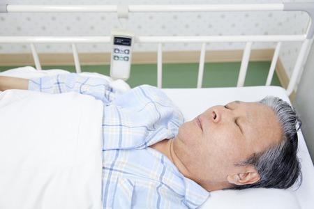 Patients sleep in bed Stock Photo