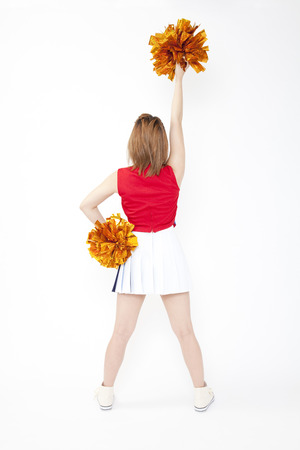 back shot: Back shot of cheer to Cheerleader Stock Photo