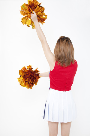 to be pleasant: Back shot of cheer to Cheerleader Stock Photo