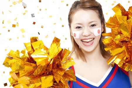to be pleasant: Cheerleader cheer with a smile Stock Photo