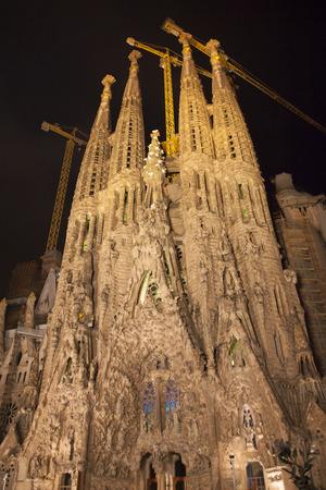familia: Night view of Sagrada Familia